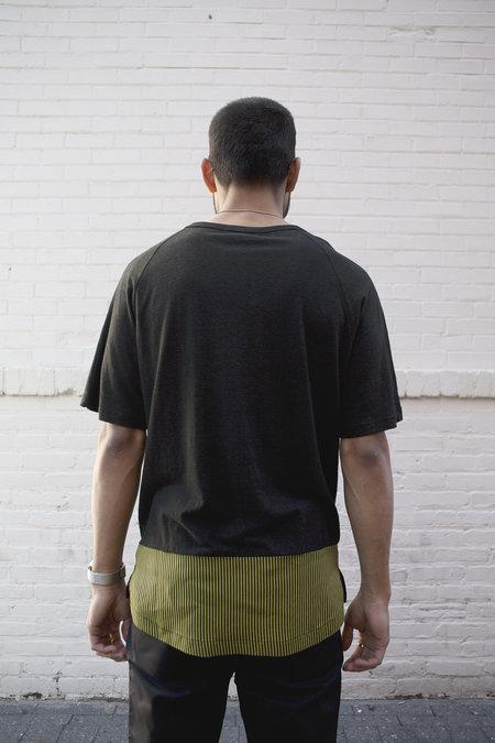 P.L.C. Blocked Linen T-Shirt - Black