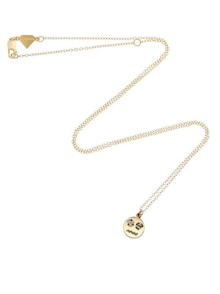 ALISON LOU Medium Diamond Spiral Eyes Happy Face Necklace - Yellow Gold
