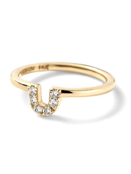 ALISON LOU Pave Diamond U Ring - YELLOW GOLD