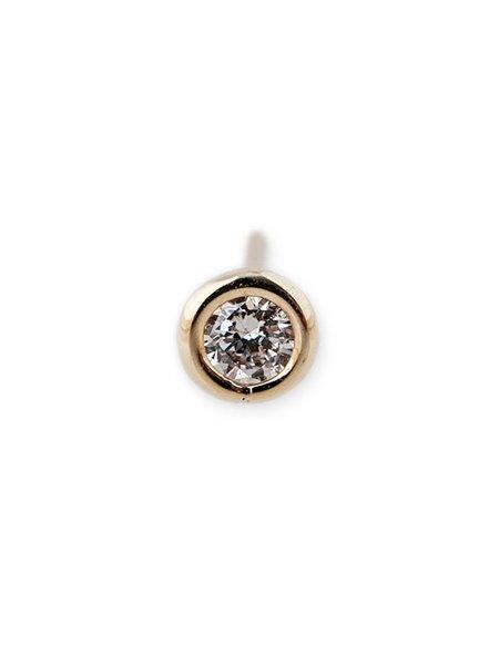 Jacquie Aiche Round Diamond Stud - YELLOW GOLD