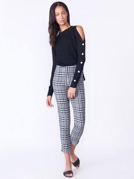 Veronica Beard Veda Cold Shoulder Button Sleeve Sweater .- BLACK