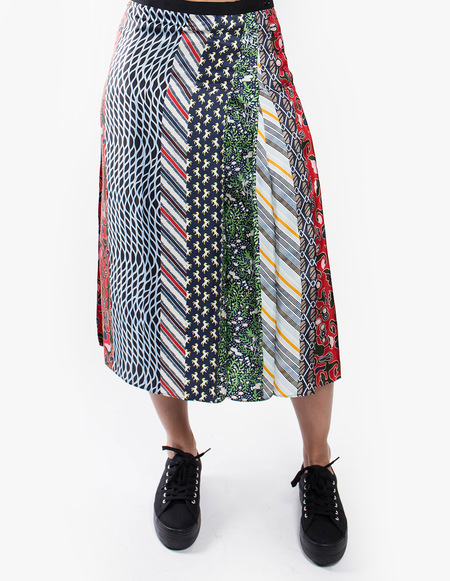 Carven Pleated Patchwork Skirt