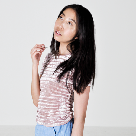 Liana Striped Plush Tee - Pink