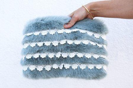 Shrimps Bob Faux Fur Clutch with Crochet Stripes - Mint