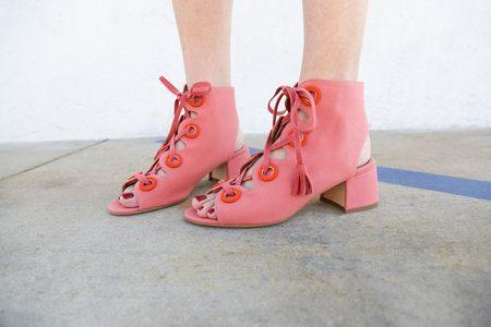 Laurence Dacade Polly Canvas Heel - Pink/Orange