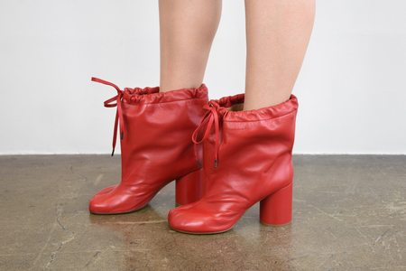 maison margiela Soft Leather Tie Poubelle Ankle Boot - Red