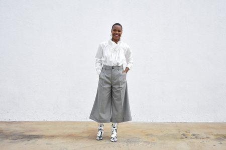 Comme des Garçons Wide Leg Crop Suit Trouser - Grey