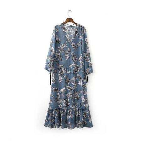Lucky Leaves Antique Wallpaper Dress - Dusty Blue