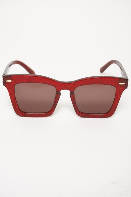 KAREN WALKER BANKS RED GLITTER SUNGLASSES
