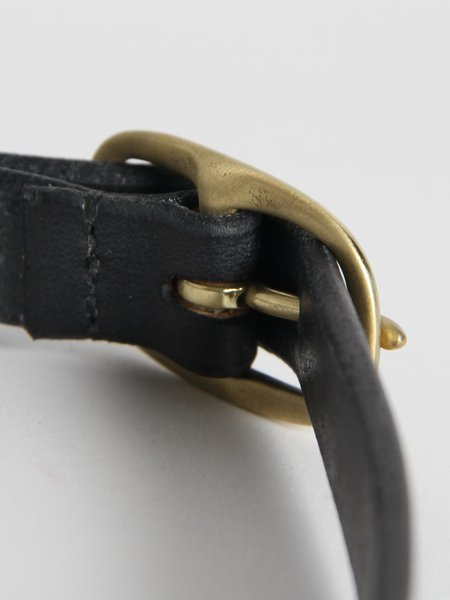 UNISEX Maximum Henry Slim Oval Belt - Black/Brass