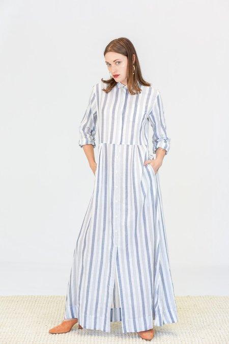 Trovata Cooper Maxi Dress - White and Navy Stripes