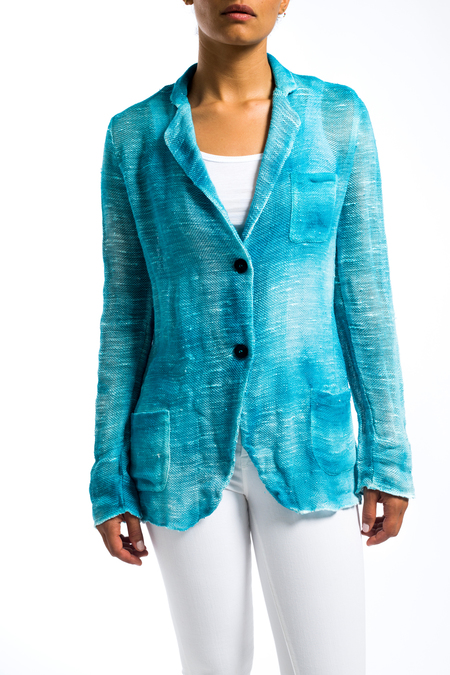 Avant Toi painted linen jacket - Turquoise