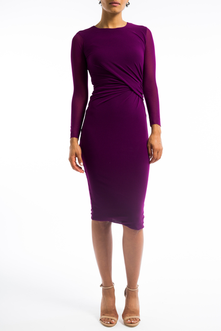 Fuzzi crew neck drape dress - plum