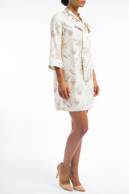 La Prestic silk bow tie 3/4 sleeve tunic dress