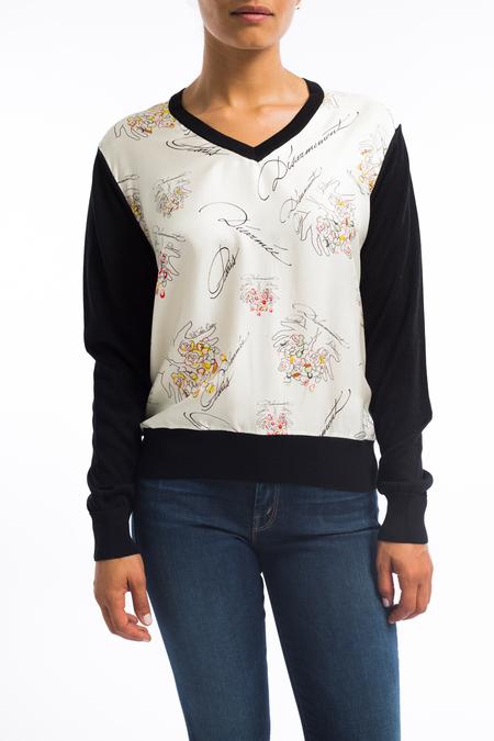 La Prestic silk cotton v neck sweater