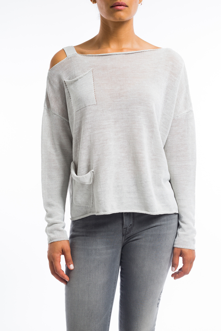 Sarah Pacini relaxed linen sweater with pockets