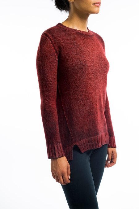 Avant Toi cashmere boatneck split vent sweater - RED