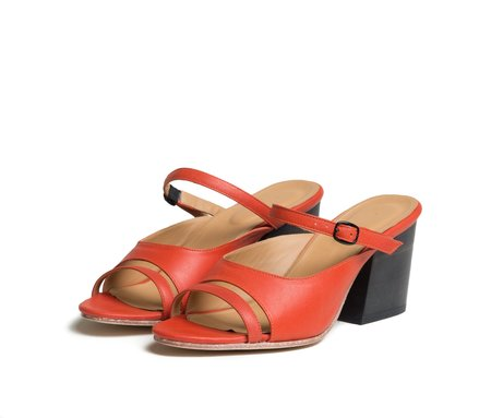 The Palatines Shoes seta three piece buckled slide sandal with wood heel - saffron red
