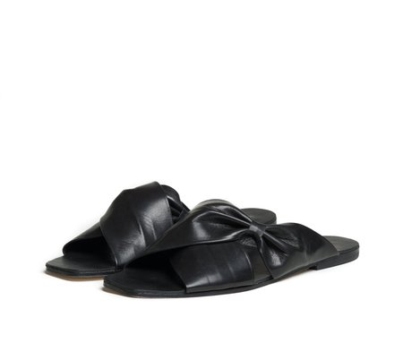 The Palatines theca gathered cross band slide sandal - black smooth leather