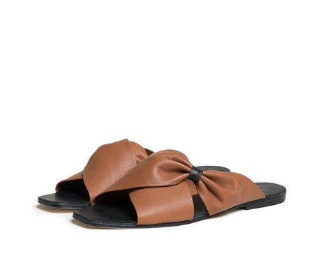 The Palatines Shoes theca gathered cross band slide sandal - henna brown