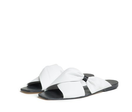 The Palatines Shoes theca gathered cross band slide sandal - lunar white