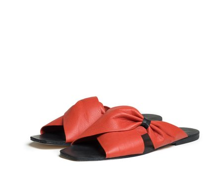 The Palatines Shoes theca gathered cross band slide sandal - saffron red