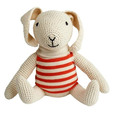 KIDS Anne-Claire Petit Crochet Rosa Rabbit Toy - Mandarin Orange Stripe