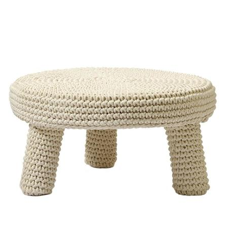 Kids Anne-Claire Petit Low Round Heavy Stool - Natural Cream
