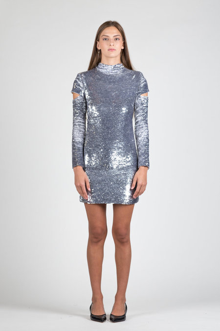 Helmut Lang Disco Sequin Dress - silver