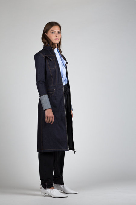 Helmut Lang Denim Trench Coat - Indigo