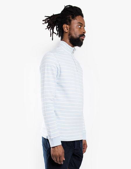 Tres Bien Half Zip Sweater Fleece Back - Pale Blue Stripe
