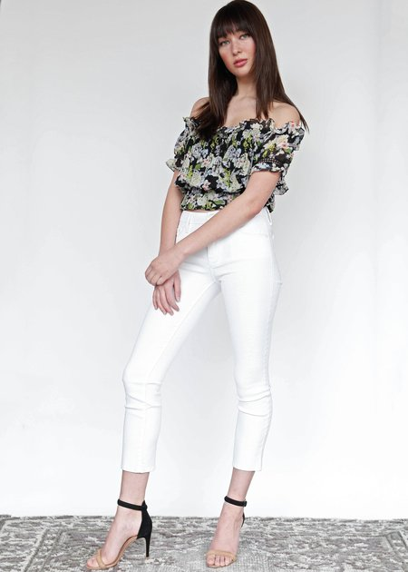 55d3024c7ad2 Marissa Webb Tiffany Cropped Silk Print Blouse - Hydrangea Black ...
