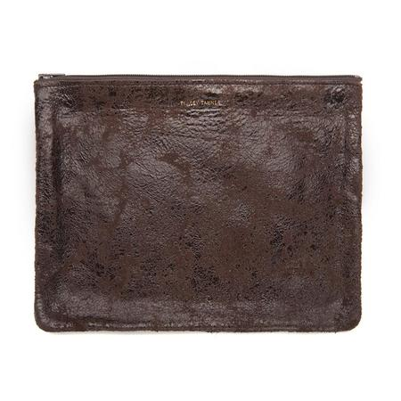 Tracey Tanner Large Flat Zip Pouch - Chocolate Distress
