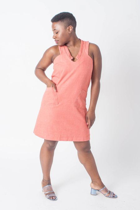 Carleen Petite Diamond Neck Dress - Red