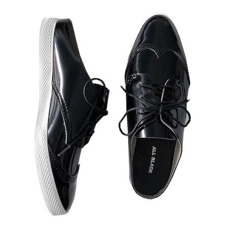 All Black Lace Up Sneaker Slide