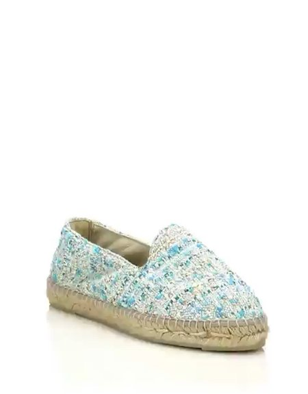 Manebi Cotton Tweed Espadrille - Aquamarine