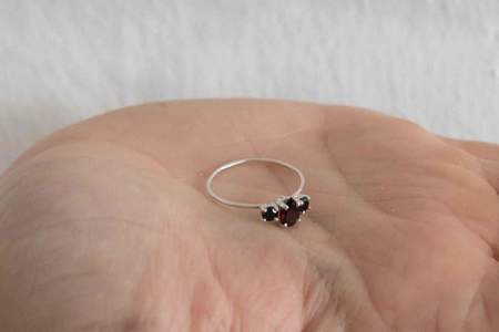 Natalie Martin Pear Trio Ring with Garnet and Black Spinel - Silver