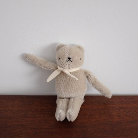 Kids Polka Dot Club Floppy Bear - Taupe with Ivory Ribbon