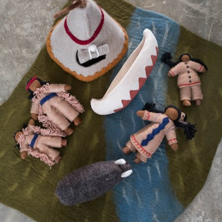 Kids Shop Merci Milo Wool Felt Native American Indian Village Play Mat Set with Dolls