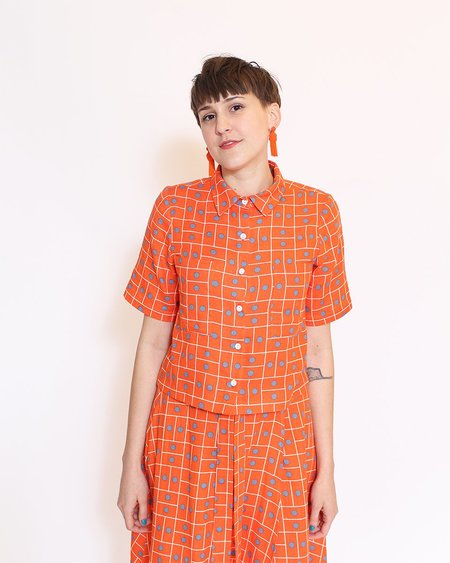 Dusen Dusen Cropped Collared Tee - Twin Dot