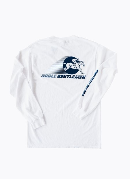 Noble Gentlemen Brand Bred for Excellence Long Sleeve T-shirt - White