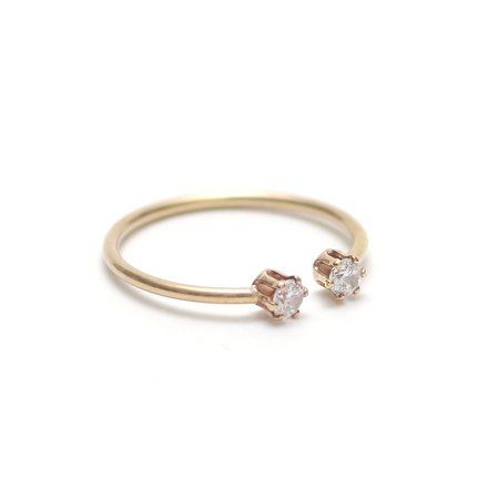 Favor Twin Gemstone Stacking Ring - Clear