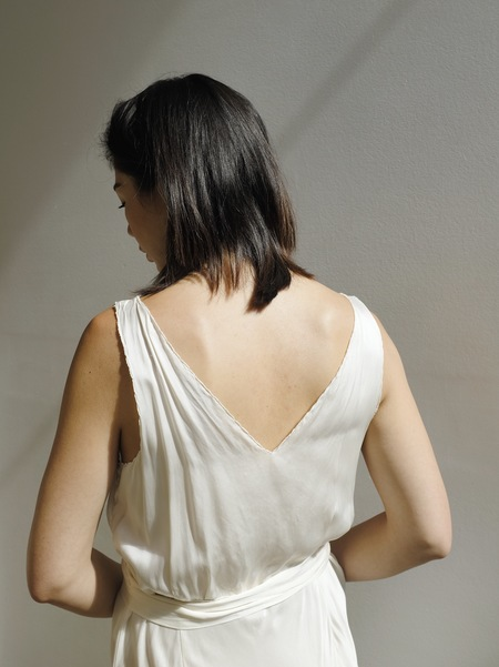 Hey Jude Vintage Ivory Antique Silk Maxi Dress