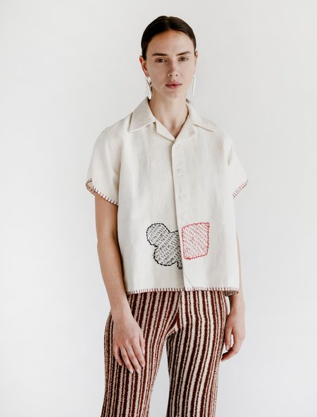 Bode Linen Knotted Cards Camp Shirt