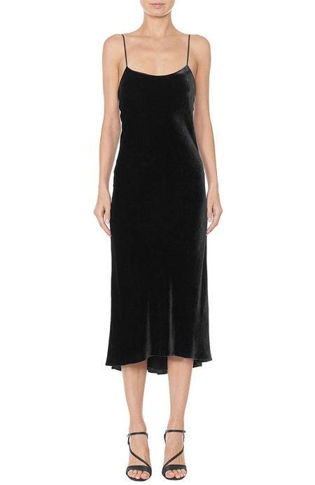 Tibi Bias Velvet Cami Dress - BLACK