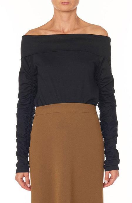 Tibi Mercerized Knit Off-Shoulder Ruched Sleeve Tee - BLACK