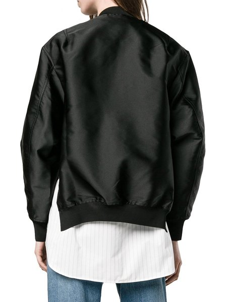 3.1 Phillip Lim Poplin Panel Satin Twill Bomber Jacket - BLACK