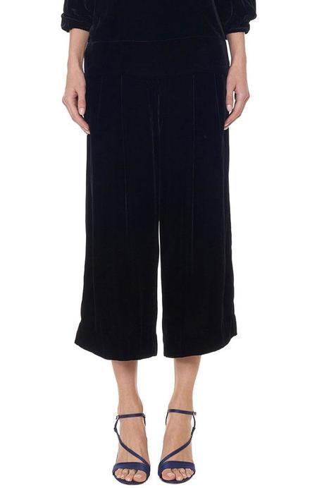 Tibi Stella Wide Leg Velvet Culotte - Black