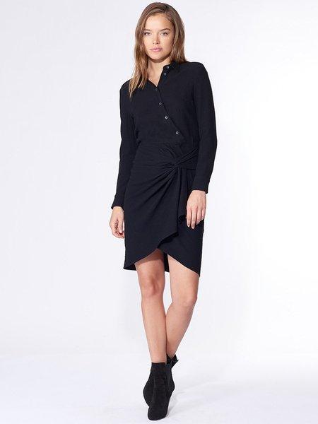 Veronica Beard Wren Twist Shirt Dress - BLACK