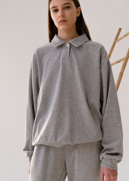 AMOMENTO TERRY COLLAR SWEAT SHIRTS